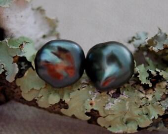 Alima - Fine Tahitian pearl jewelry stud earrings, keshi pearls, natural untreated pearls, stud earrings, gift, women, formal or office wear