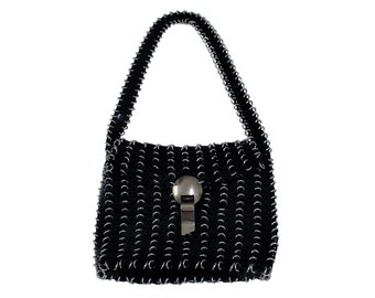 Vintage and Rare Paco Rabanne Disc Bag Black With Silver Hardware 1960s
