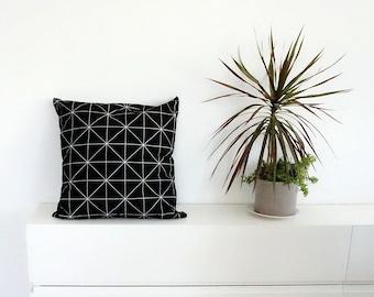 Werfen Sie, Kissen, schwarz Kissenbezug, geometrische Muster Kissen, nordisches Design, skandinavischen Stil, Housewarminggeschenk
