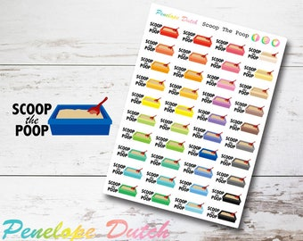 Cat Litter Box Planner Stickers with Text Scoop the Poop
