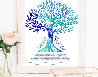 Printable Contemporary Custom Ketubah Tree of Life Watercolor Style