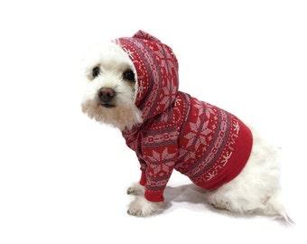 Red Fair Isle Dog Hoodie-Dog Sweater-Christmas Dog Hoodie-Red Dog Hoodie-Hoodies for Dogs-Dog Sweater-Red Dog Sweater-Dog Sweatshirts