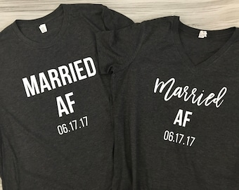Married AF - Husband and Wife Shirt Set - Just Married shirt set - Wedding gift - Bridal shower gift - Honeymoon shirts