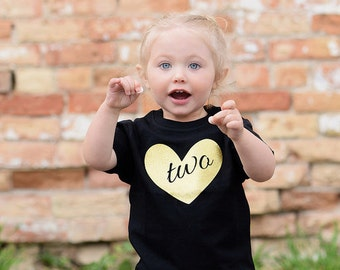 Two Birthday Shirt -  2nd Birthday Shirt - Two Year Old - Glitter Birthday Shirt - Birthday Gift- 2nd Birthday Outfit - Birthday Girl