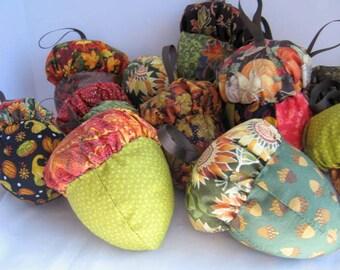 Fall Cloth Acorn Ornaments  Set of 4, Four Autumn Fabric Acorn Ornies, Stuffed Acorn Ornaments