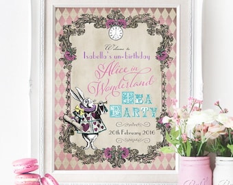 Alice in Wonderland Party Sign - Harlequin - INSTANT DOWNLOAD - Editable & Printable Birthday Party Decorations by Sassaby Parties