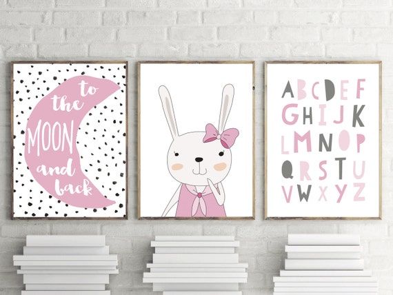Chicas dormitorio o dormitorio impresiones rosa alfabeto