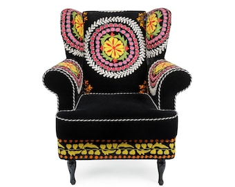 Black Swan, velvet suzani chair