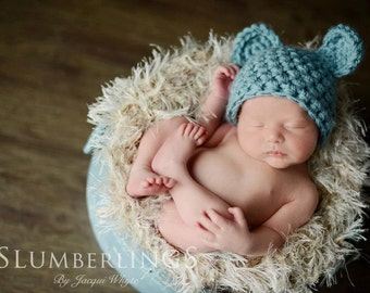 Handmade Newborn Teddy Bear Hat in Blue