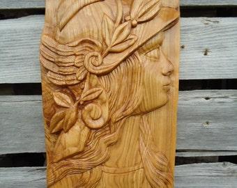 Carved Goddess Wood sculpture - Wood Carving wall art - Wood carving art - Goddess artwork - Female art - Wood carving - Fantasy art, Athena