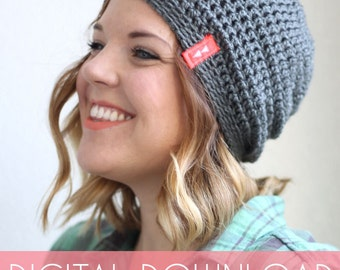Simple Slouch Hat Crochet Pattern - Instant Download