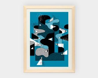 Framed giclee print. 30x40cm.