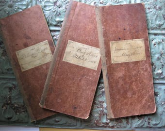 Antique, Three - 1885-86 Grocery Store Ledgers, Aged Handwritten Pages Antique Labels