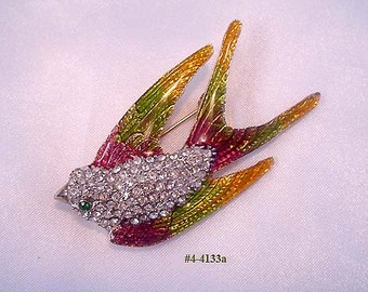 FREE SHIP Vintage Red Rhinestone and Guilloche Bird Brooch (4-4133)
