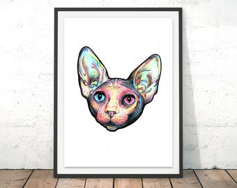 Sphynx Cat Illustration - Kitten, Kitty, Drawing, Poster, Print, Hairless Cat, Cute, Pet