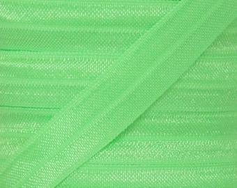 Neon Green Fold Over Elastic - Elastic For Baby Headbands and Hair Ties - 5 Yards of 5/8 inch FOE