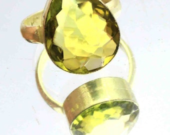 28.40Ct Certified US Size-8 Yellow Citrine Amazing Ring Gems 925 Sterling Silver ET63