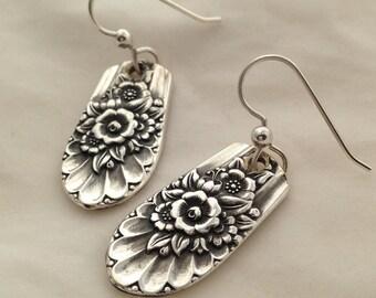 Silver Dangle Earrings, Jubilee 1953, Vintage Silverplate Spoon Jewelry