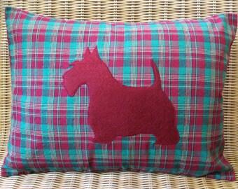"Appliquéd Scottie Dog Pillow, Red Terrier with Red & Green Tartan Plaid Print, 12"" x 16"""