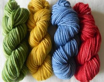 Mini skein set 4 x 25g (100g total) 100% wool DK yarn
