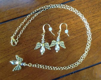 Golden Angel Necklace and Earrings Set