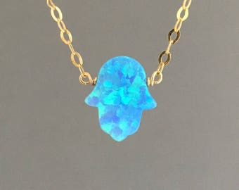 Light Blue Opal Hamsa Gold Necklace also in Silver and Rose Gold