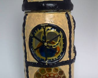 astronomical clock - candle jar - steampunk