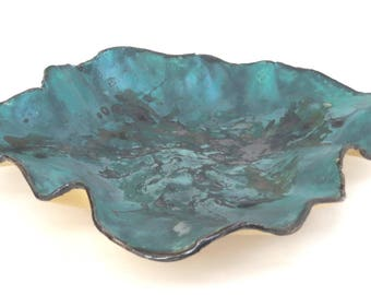 Earthy Green Ceramic Centerpiece Rustic Contemporary Clay Art Tray Abstract Decorative Plate Organic Pottery Showcase Dish Fine Ceramic Art