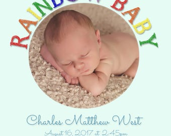 Rainbow Boy baby birth announcement - proceeds to charity