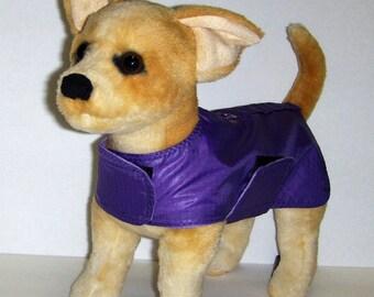 Rip Stop Raincoat Harness-Vest for Small Dog, Purple.