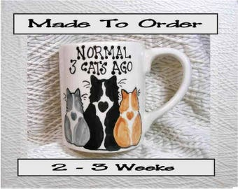Normal 3 Cats Ago Mug Original Handmade To Order With Paws On Back by GMS