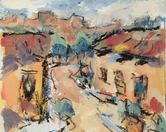 Southwest Art, Western art  Painting, Santa Fe, New Mexico, village adobes, art by Russ Potak Artist