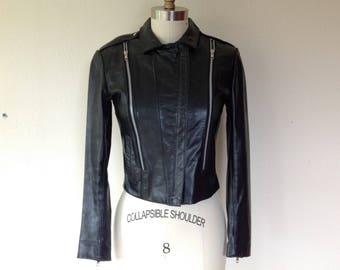 1990's Black leather motorcycle jacket