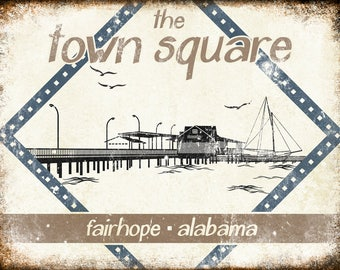 "The Town Square // Fairhope, Alabama  // Metal Sign // 12"" x 16"""