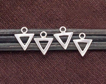4 of 925 Sterling Silver Triangle  Charms 8.5x7.5 mm. Polish Finished . :tk0166