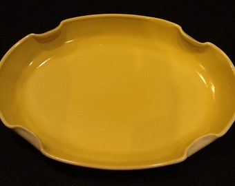 Fire King Vitrock Garden Tray or Bowl <> Flower Garden Dish or Bowl <> Fired-On Yellow Color <> 1950's <> GREAT CONDITION