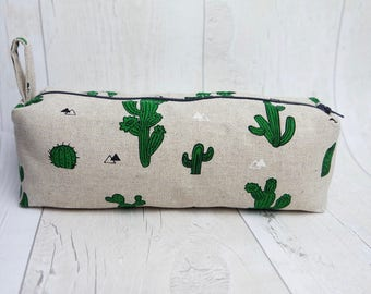 Cactus Pencil case/ Makeup bag, made with cotton linen fabric and fully lined with water proof fabric
