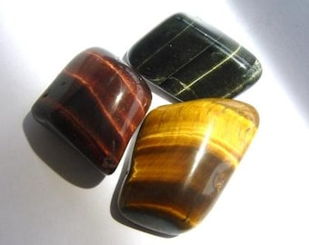 Golden - Red - Blue Tigers Eye Tumbled & Rough Golden Gemstone