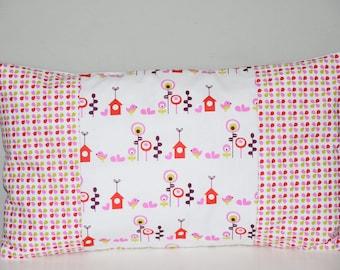 Pillow cover nursery decor girl - 50 x 30 cm - Patchwork fabric - multicolors tones