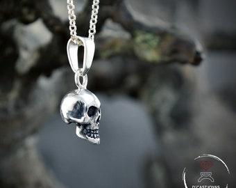 Colgante calavera completa pequeña  plata maciza 925, Colgante calavera unisex, Colgante cráneo completo, Joyería gótica, Colgante artesanal