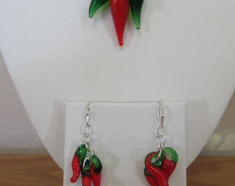 Red Hot Chili Peppers Necklace and Earrings