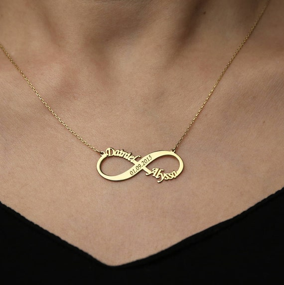 rose necklace plated infinity gold name silver with names necklaces