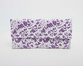 Deep lilacs envelop clutch with off white  lace clutch with , bridesmaid clutch gift,wedding clutch,Evening bag ,red lining