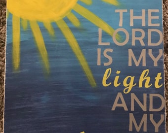 "The Lord is my Light and my Salvation - Psalms 27:1 Painting — 8"" x 10"""