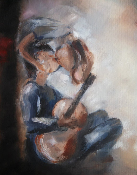 Boy with a guitar, upside down kiss, romantic art, art for boyfriend, young love, couple kissing, impressionistic romantic art music romance