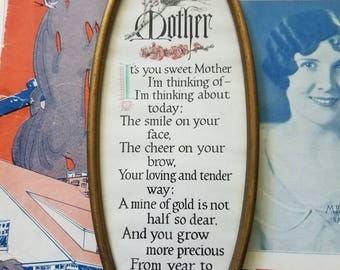 Lovely oval framed Mother poem with birds and flowers