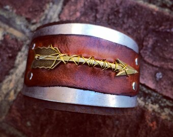 Mixed Metal and Leather Arrow Cuff