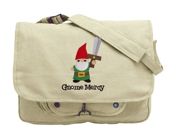 Gnome Mercy Embroidered Canvas Messenger Bag