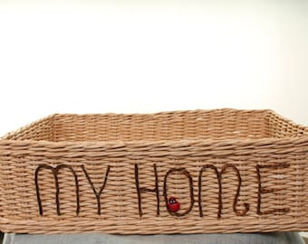 Woven Basket/ Hand Embroidered Basket/ Basket Design/ Embroidered Baskets/ Decor Basket/ Organization Basket/ Housewarming Basket