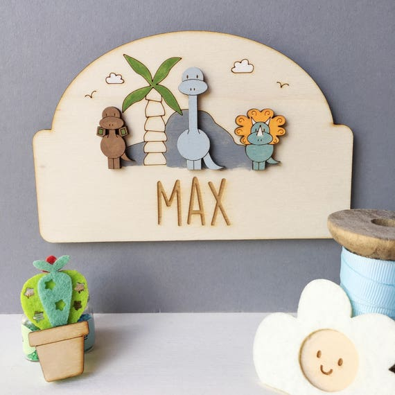 Dinosaur door sign - personalised child's door plaque - dinosaurs - child's bedroom sign